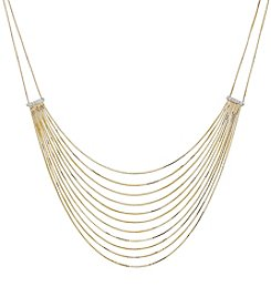 10K Yellow Gold Polished Diamond Cut Box Bib Necklace