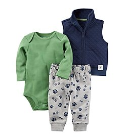 Carter's Baby Boys' 3 Piece Paw Print Little Vest Set