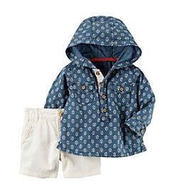 Carter's® Baby Boys' 2-Piece Hooded Shirt And Canvas Shorts Set