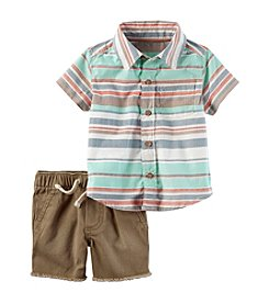 Carter's® Baby Boys' 2-Piece Poplin Button Down And Twill Shorts Set
