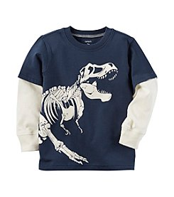 Carter's Baby Boys' Layered Look Glow In The Dark Dinosaur Graphic Tee