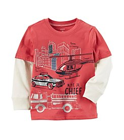 Carter's Baby Boys' Layered Look Metallic Fire Truck Graphic Tee