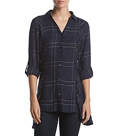 Relativity® Plaid Tunic with Sharkbite Hem