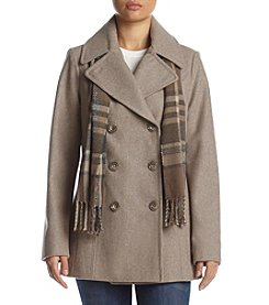 London Fog® Envelope Collar Coat And Scarf