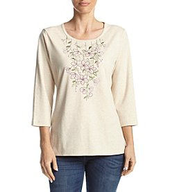 Alfred Dunner® Applique Stripe Floral Top
