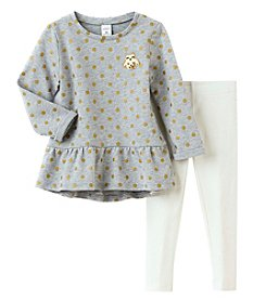 Carter's Girls' 2T-4T Owl Patch Glitter Top And Leggings Set