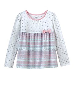 Mix & Match Girls' 2T-7 Long Sleeve Print Mix Top