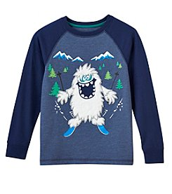 Mix & Match Boys' 2T-7 Faux Fur Yeti Graphic Raglan Long Sleeve Tee