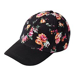 Collection 18 Floral Faux Suede Baseball Cap