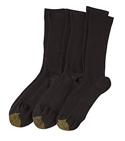 GOLD TOE® 3-Pack Ribbed Crew Socks