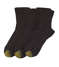 GOLD TOE® 3-Pack Ribbed Quarter Socks