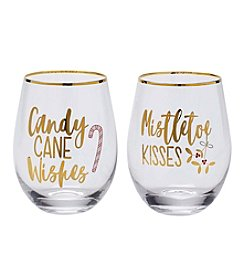 Mikasa® Holiday Stemless Wine Glass Set