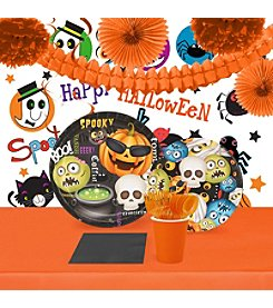 16 Guest Halloween Emoji Tableware & Room Decor Kit