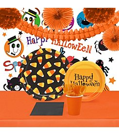 16 Guest Halloween Candy Corn Tableware & Room Decor Kit