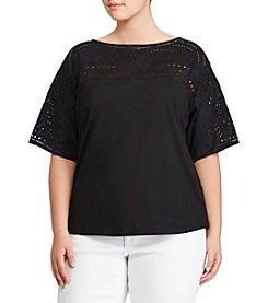 Lauren Ralph Lauren® Plus Size Balletneck Crochet Top