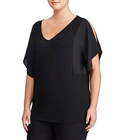 Lauren Ralph Lauren® Plus Size V-neck Cold Shoulder Top