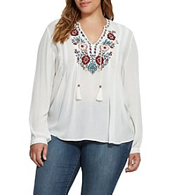 Vintage America Blues™ Plus Size Peasant With Embellishment Top