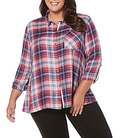 Rafaella® Plus Size Plaid Yarn Dye Top