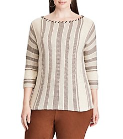 Chaps® Plus Size Striped Cotton-Blend Sweater
