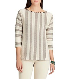 Chaps® Striped Cotton Blend Sweater