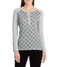 Chaps Plaid Henley Top