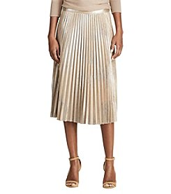 Chaps® Metallic Faux-Suede Pleated Skirt