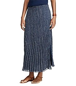 Chaps® Dot-Print Pleated Georgette Skirt