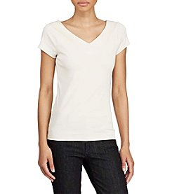 Lauren Ralph Lauren® Stretch Cotton V-Neck T-Shirt