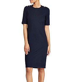 Lauren Ralph Lauren® Button-Shoulder Ponte Dress