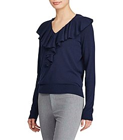 Lauren Ralph Lauren® Ruffled V-neck Sweater