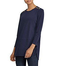 Lauren Ralph Lauren® Button-Shoulder Jersey Top