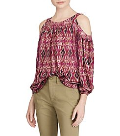 Lauren Ralph Lauren® Ikat-Print Cutout-Shoulder Top