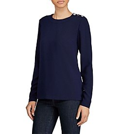 Lauren Ralph Lauren® Button-Shoulder Georgette Top