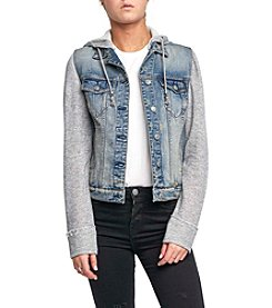 Silver Jeans Co. Sasha Hooded With Knit Sleeves Jacket