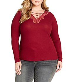 Jessica Simpson Plus Size Yvetta Lace-Up Top