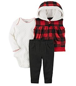 Carter's Baby Girls' 3 Piece Plaid Vest Little Jacket Set