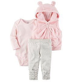 Carter's Baby Girls' 3 Piece Bear Cardigan Little Jacket Set