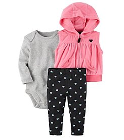 Carter's Baby Girls' 3 Piece Heart Print Little Vest Set