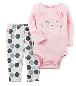 Carter's Baby Girls' 2 Piece Cat Face Bodysuit and Pants Set