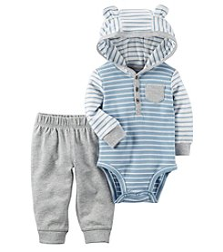 Carter's Baby Boys' 2 Piece Striped Hooded Bodysuit Pants Set