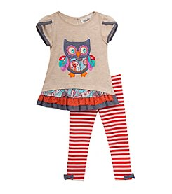 Rare Editions® Girls' 2T-6X Girls 4-6x Owl Top And Leggings Set
