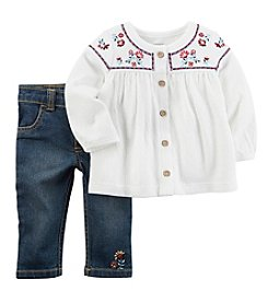 Carter's® Baby Girls' 2 Piece Embroidered Tunic And Pants Set