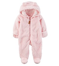 Carter's Baby Girls' Newborn-9M Hooded Sherpa Pram Sleep & Play