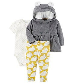 Carter's Baby Girls' 3 Piece Little Bunny Pants & Jacket Set