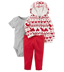 Carter's Baby Girls' 3-24 Months 3 Piece Heart Print Little Jacket Set