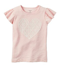 Carter's Girls' 2T-4T Lace Heart Short Sleeve Tee
