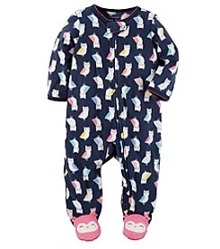 Carter's® Baby Girls' Fleece Zip Up Sleep And Play Owl Print Footies