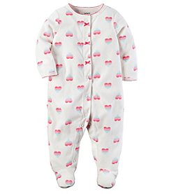 Carter's® Baby Girls' Fleece Snap Up Sleep And Play Heart Print Footies