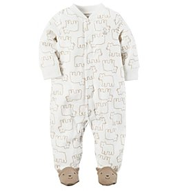 Carter's® Baby Boys Fleece Snap Up Sleep And Play Bear Print Footies