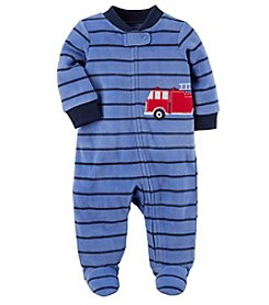 Carter's® Baby Boys' Fleece Zip Up Sleep And Play Firetruck Striped Footies